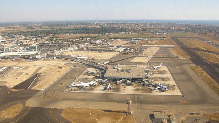 Vue aérienne de l'aéroport de Rome Fiumicino