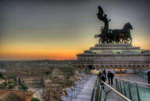 coucher de soleil rome il vittoriano