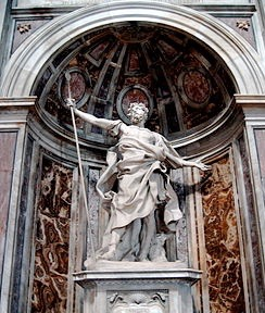 La statue de Saint_Longin a saint-pierre de Rome.
