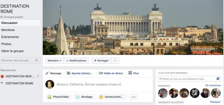 Rejoignez-nous sur le groupe Destination Rome!