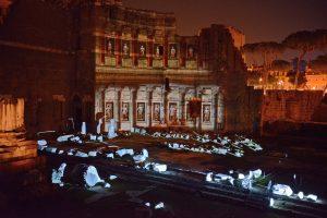 Forum d'auguste en soirée.